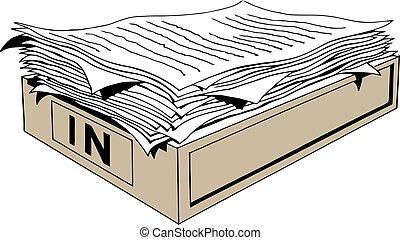 cartelle, appartamento, stile, documenti, illustration., ufficio, scatole carta, vettore, mucchio, file, cartone, tavola., cartone animato