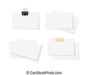cartelle, bianco, set, affari, vuoto