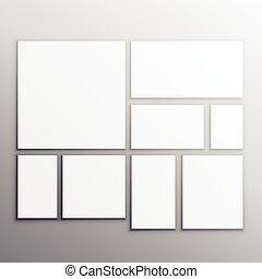 cartelle, bianco, set, mockup