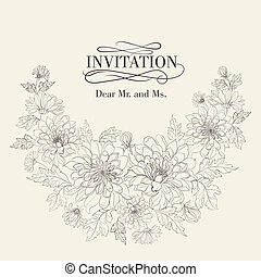 cartelle, chrysanthemums., invito