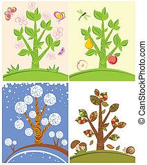 cartelle, con, stagionale, albero