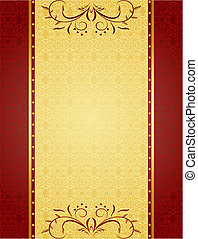 cartelle, disegno, fondo, oro, invito