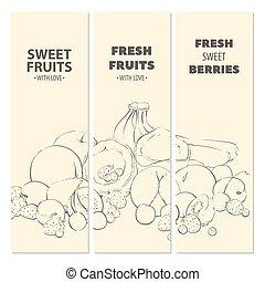 cartelle, frutta, contorno