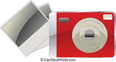 cartelle, macchina fotografica foto, rosso, digitale