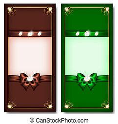 cartelle, marrone, augurio, &, verde