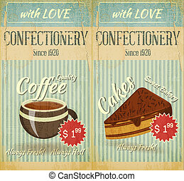 cartelle, pasticceria, caffè, menu, dessert, vendemmia, due
