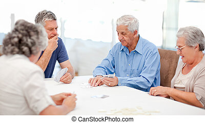 cartelle, pensionato, gioco insieme, persone