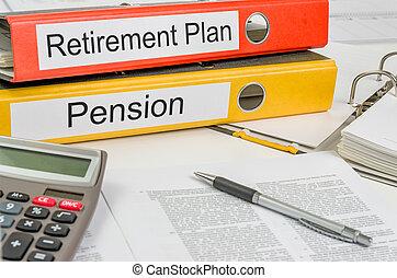 cartelle, pensione, programma pensione, etichetta