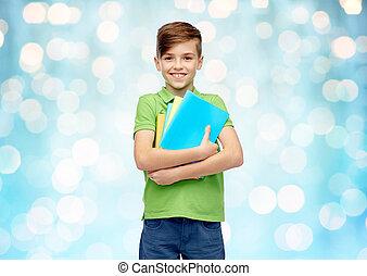 cartelle, ragazzo, quaderni, studente, felice