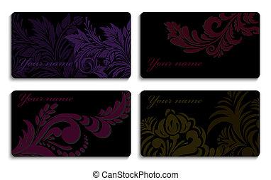 cartelle, set, ornamento, affari