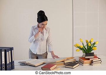 cartelle, ufficio affari, carta, ragazza, sedere, segretario