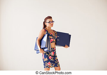 cartelle, ufficio affari, carta, ragazza, segretario