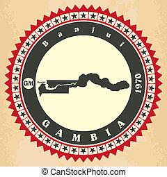 cartelle, vendemmia, gambia., label-sticker