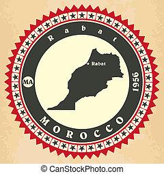 cartelle, vendemmia, morocco., label-sticker