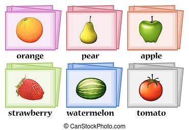 cartelle, verdura, parola, frutte