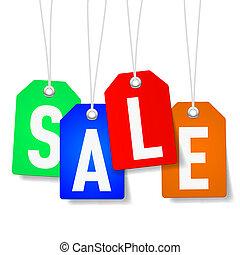 cartellini prezzo, con, vendita, parola