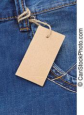 cartellino del prezzo, jeans, sopra