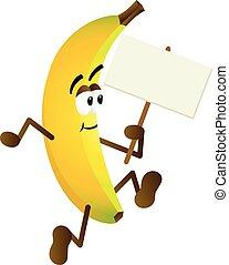 cartello, banana, presa a terra, vuoto