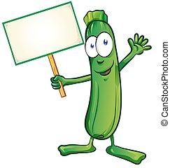 cartello, isolato, fondo, bianco, cartone animato, zucchini