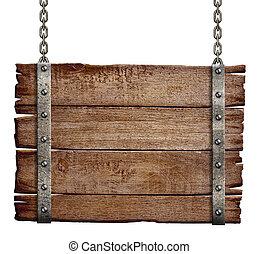 cartello, legno, vecchio, catena, appendere