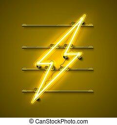 cartello, neon, segno giallo, fondo., lampo