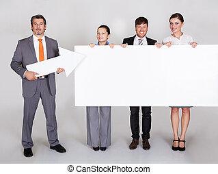 cartellone, businesspeople, presa a terra
