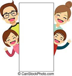 cartellone, famiglia, felice