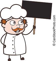 cartellone, illustrazione, chef, vettore, presa a terra, cartone animato