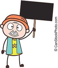 cartellone, illustrazione, vettore, nonno, presa a terra, cartone animato