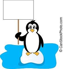 cartellone, presa a terra, pinguino