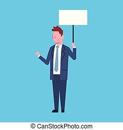 cartellone, ufficio, affari, carattere, lavoratore, uomo affari, bianco, presa, vuoto, uomo
