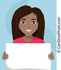 cartellone, vettore, diversity., nero, razziale, lei, donna, hands., illustrazione, appartamento