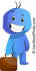 cartera azul, caracter, ilustración, vector, plano de fondo...