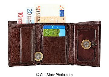 cartera cuero, con, billetes de banco de euro, coins, y, tarjeta de crédito, aislado, blanco, plano de fondo