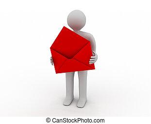 cartero, con, abierto, envelope., aislado, 3d, imagen