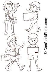cartero, llanura, dibujo