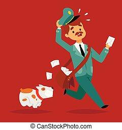 cartero, mensajero, paquete, carácter, envelope., entregar, ...
