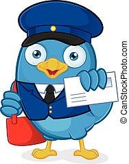 cartero, pájaro azul
