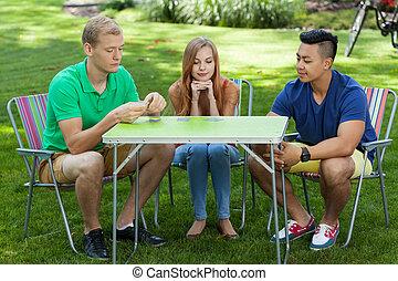 cartes, amis, jardin, jouer