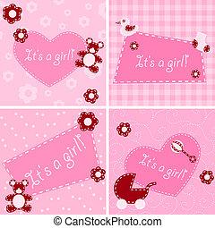 cartes, annonce, girl, naissance, matelassé