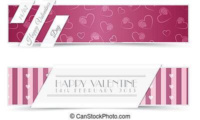 cartes, bannières, salutation, valentin