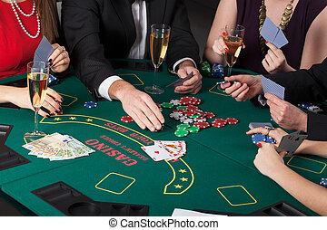 cartes, boire, champagne, jouer