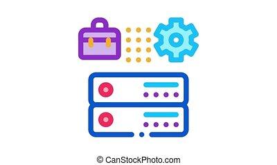 cartes, business, engrenage, cas, animation, icône