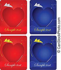 cartes, cœurs, ensemble