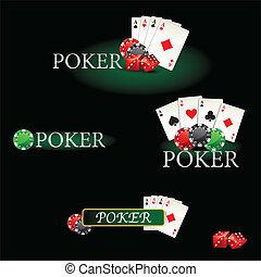 cartes, chi, poker, éléments, casino