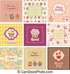 cartes, collection, petit gâteau
