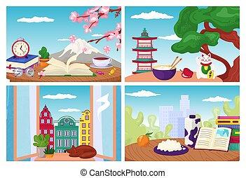 cartes., composition., symboles, tourisme, voyage, design., vecteur, ensemble, illustrations, repères, mondiale, postal, cartes postales, vacances, plat