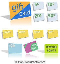 cartes, crédit, cadeau, banque, débit