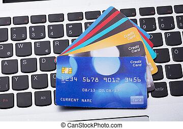 cartes, crédit, clavier ordinateur