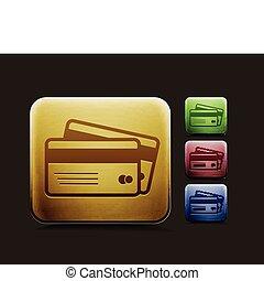 cartes, crédit, ensemble, icône